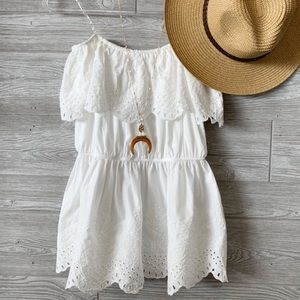 THE PERFECT OCCASION EYELET TOP - OFF WHITE/ PEACH